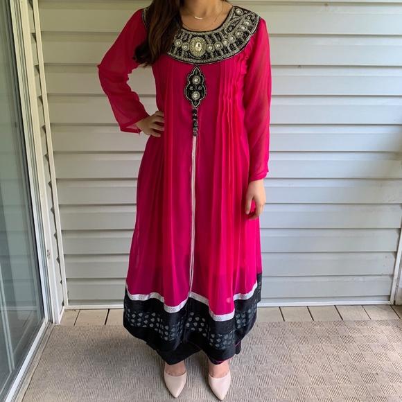 Dresses & Skirts - Pink and Black Indian/Pakistani Anarkali Dress